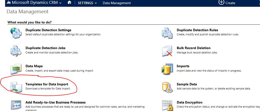 Templates data import