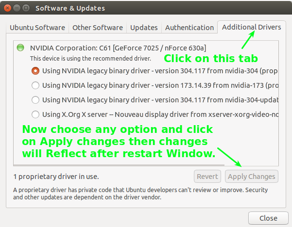 How to update driver in Ubantu part 4