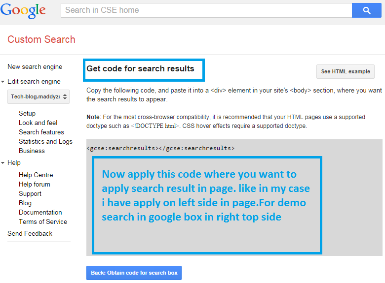 add custom google search two-column type pattern for search results