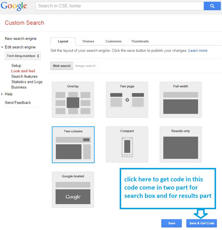 add custom google search  two-column type pattern