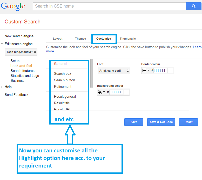Customisation in Custom Google Search Box and Result