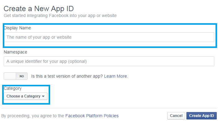 Create APP ID In Facebook