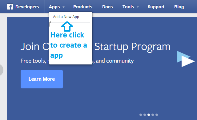 create a new app in facebook