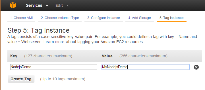 create key value in AWS