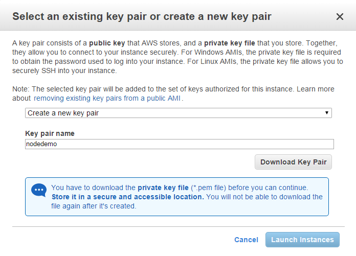 key pair download in AWS EC2