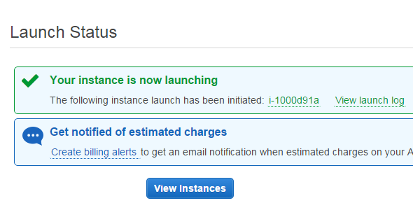 launch instance done in AWS EC2