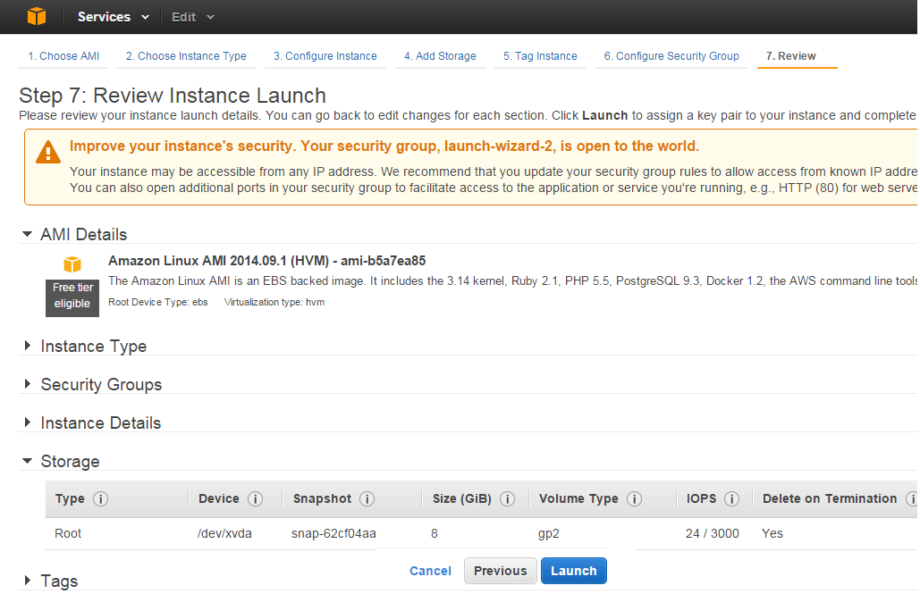 review and launch AWS EC2