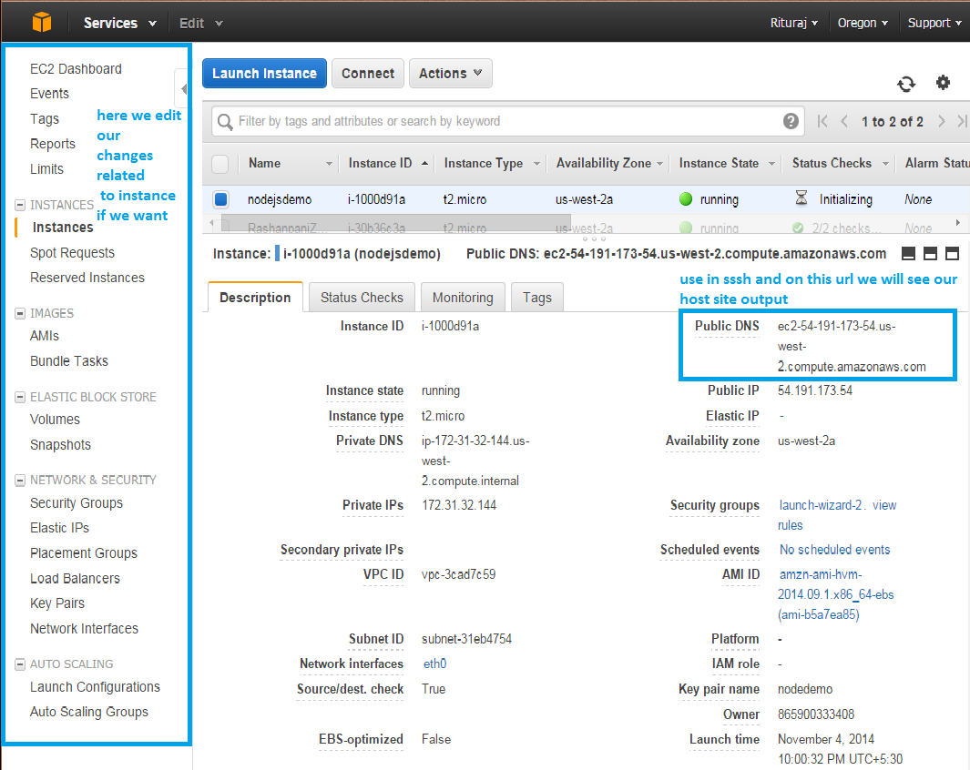 view instance in AWS EC2
