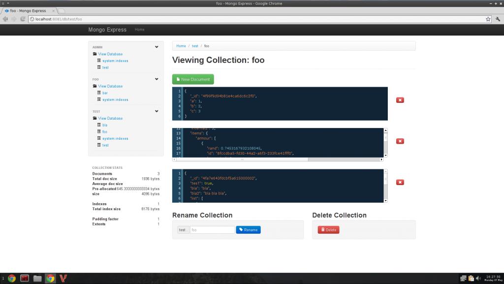 mongoexpress admin tool for mongoDB